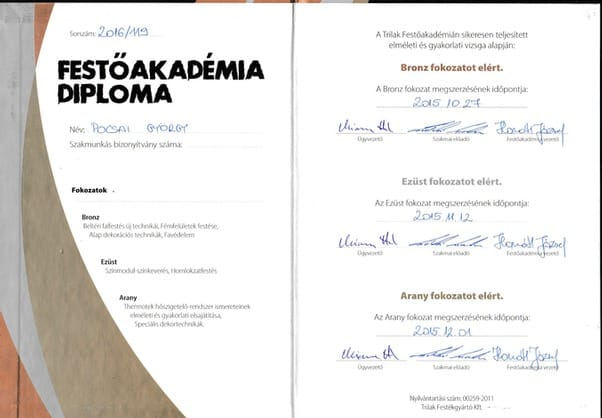 Festő Akadémia Diploma